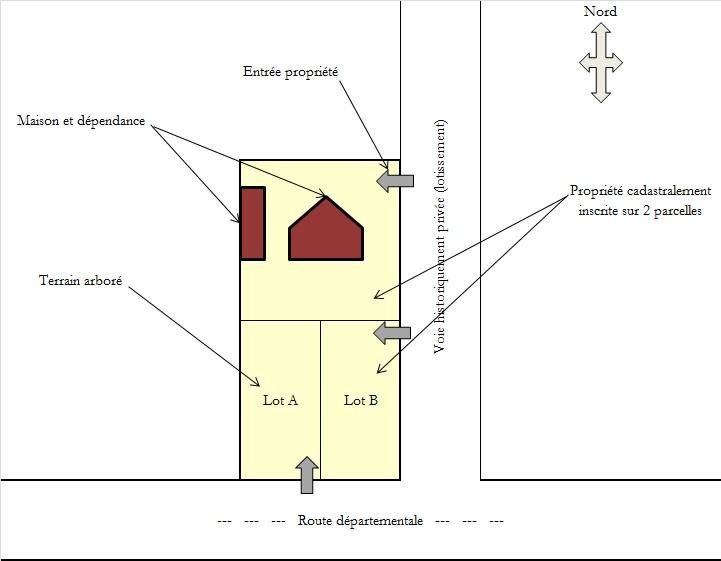 Croquis scénario détachement de lots à bâtir suite